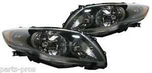 New Replacement Black Headlight Assy Pair For 2009 11 Toyota Corolla S