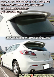 Ms Style Rear Roof Spoiler Abs Clear Lens Leds Fits 10 13 Mazda 3 Hatch 5dr