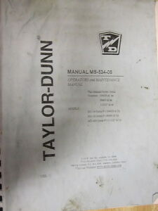 Taylor Dunn Ms 534 08 Ms53408 Operators Manual
