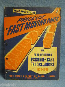1928 1949 Ford Original Price List Of Fast Moving Parts Cars Trucks Buses 30 35