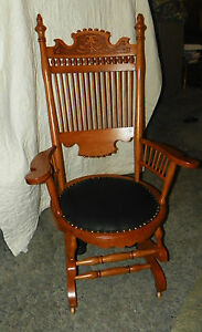 Oak Carved Spindle Back Rocker Rocking Chair With Black Leather Seat R124