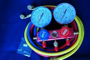 R410a R22 R134a manifold Gauge 5ft Hose Set Hvac Field Service Chargin Tool New