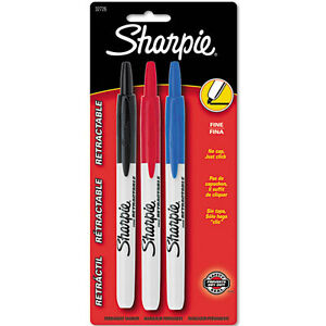 Sharpie Fine Retractable Markers Fine Marker Point Type Assorted Ink 3 set