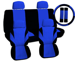 13pc Set Cool Car Seat Covers Blk Blue Matching Swc Sbc No Airbags Cut Out