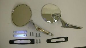 Round Outside Mirrors 12pc Kit W Ribbed Base Camaro Nova Firebird Mirror Pair