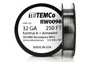Temco Kanthal A1 Wire 32 Gauge 250 Ft Resistance Awg A 1 Ga