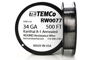 Temco Kanthal A1 Wire 34 Gauge 500 Ft Resistance Awg A 1 Ga
