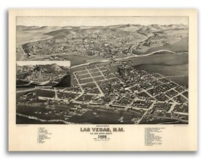 Bird S Eye View 1882 Las Vegas New Mexico Vintage Style City Map 20x28