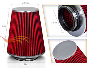 Red 3 5 Inches 3 5 89mm Inlet Cold Air Intake Cone Long Truck Filter For Audi