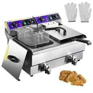 23 4l Commercial Deep Fryer W Timer Drain Fast Food French Frys Electric Cooker