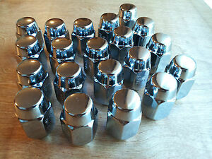 20 New Ford Rally Rim Chrome Mag Wheel Acorn Lug Nuts 1 2 20 Rht 13 16 Hex Nos