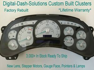 4e 05 06 2005 2006 Reman Custom White Gauge Chevy Suburban Replacement Cluster