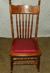 Cherry Carved Sewing Rocker Rocking Chair R97