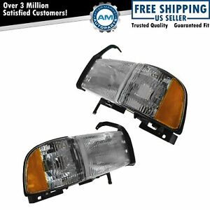 Headlights Headlamps Side Marker Lights Pair Set Of 2 For 94 01 Ram Pickup Truck