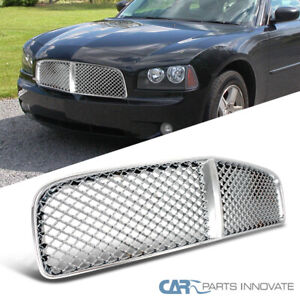 For 05 10 Dodge Charger Replacement Abs Mesh Chrome Front Hood Bumper Grille