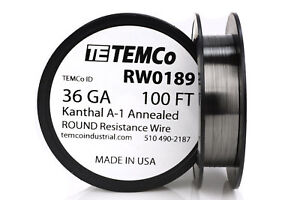 Temco Kanthal A1 Wire 36 Gauge 100 Ft Resistance Awg A 1 Ga