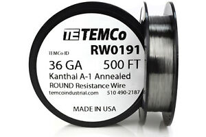 Temco Kanthal A1 Wire 36 Gauge 500 Ft Resistance Awg A 1 Ga