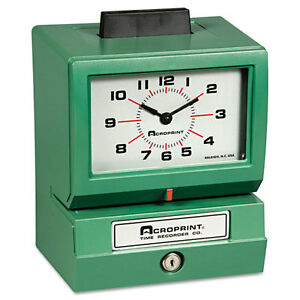 Acroprint Model 125 Analog Manual Print Time Clock W month date hours minutes Ea