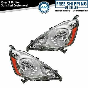 Headlights Headlamps Left Right Pair Set New For 09 11 Honda Fit Sport