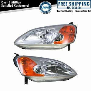 Headlights Headlamps Left Right Pair Set For 01 03 Honda Civic 2 Door Coupe