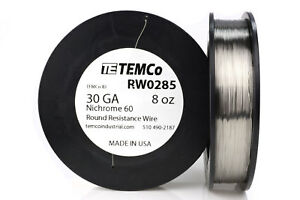 Temco Nichrome 60 Series Wire 30 Gauge 8 Oz 1792 Ft resistance Awg Ga