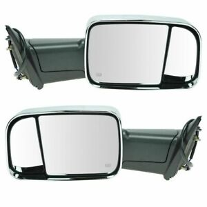 Side Mirror Power Heated Flip Up Chrome Pair Set Of 2 For Dodge Ram Pickup Truck
