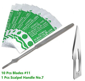 New Stainless Steel Scalpel Knife Handle 7 10 Surgical Sterile Blades 11
