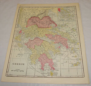 1911 Cram Antique Color Map Greece