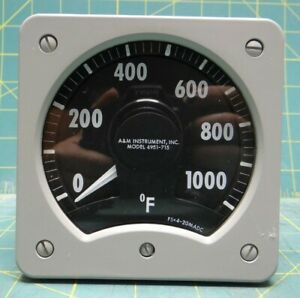 A m Temperature Indicator Panel Meter 0 1000 Degrees F 4 5 x 4 5 Face