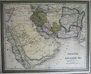1850s Persia Arabia Middle East Framed Map