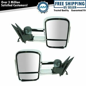 Towing Mirror Chrome Power Heated Signal Pair For Silverado Pickup Truck Sierra