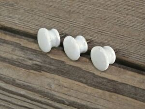 3 Small Cabinet Knobs Drawer Pulls Door White Porcelain 5 8 1800s Old Vintage