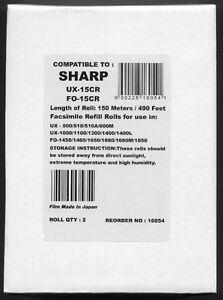 2 pack Of Ux 15cr Fax Refills For Sharp Ux 1000 Ux 1100 Ux 1150m Ux 1300 Ux 1400