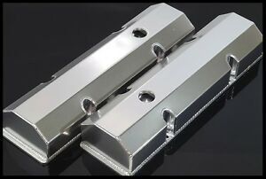 Sbc Fabricated Tall Aluminum Valve Covers W Accessory Holes 6145 satin
