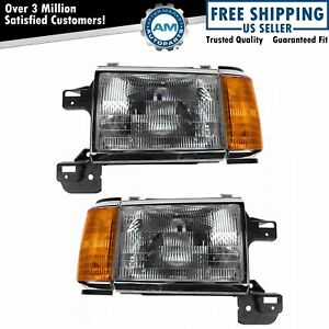 Headlights Headlamps W Chrome Trim Pair Set For 87 91 Bronco F series Truck