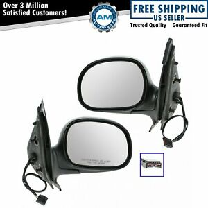 Power Side View Mirrors Black Chrome Pair Set For Ford Expedition F150 Truck