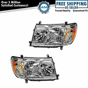Front Headlights Headlamps Lights Lamps Pair Set For 05 07 Toyota Land Cruiser