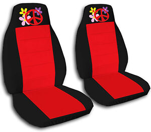 2 Black And Red Flower With Peace Seat Covers For A 2010 Volkswagen Beetle