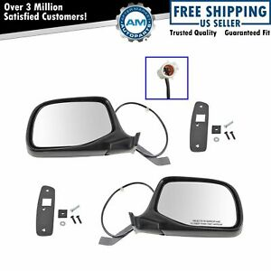Power Side View Mirrors Chrome Black Left Right Pair Set For F series Truck
