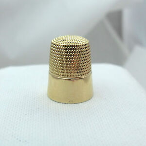 Victorian Simon Brothers 14k Yellow Gold Sz 8 Sewing Thimble 4 3gr