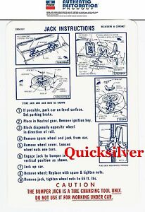 1969 Plymouth Satellite Road Runner Gtx Jacking Instructions Trunk Lid Decal New