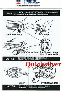 1972 Dodge Charger Coronet All Models Jacking Instructions Trunk Lid Decal New