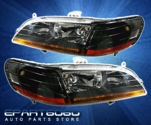 1998 2002 Honda Accord Cg Black Amber Jdm Headlights 2 4dr 98 99 00 01 02