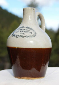 Small Antique Mini Jug Mt Vernon Rye 7 Year Old Rye Two Tone Stoneware Crock