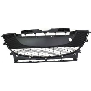 Bumper Grille For 2010 2011 Mazda 3 2 0l Eng Center Textured Gray Plastic