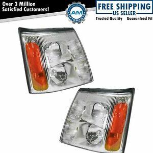 Front Hid Headlights Headlamps Pair Set For 03 06 Cadillac Escalade Pickup Truck