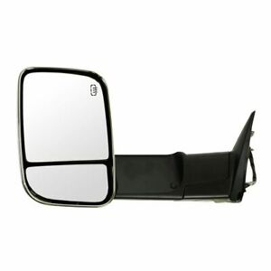 Tow Mirror Power Heated Memory Puddle Signal Flip Up Folding Chrome Left For Ram