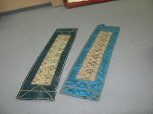 Pair 2 Vintage European Vienese Textile Metallic Accents 33 X68 Table Runner