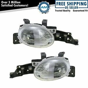 Headlights Headlamps Left Right Pair Set New For 95 99 Dodge Plymouth Neon