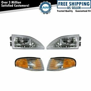 Headlights Parking Corner Lights Left Right Pair Set For 94 98 Mustang Cobra